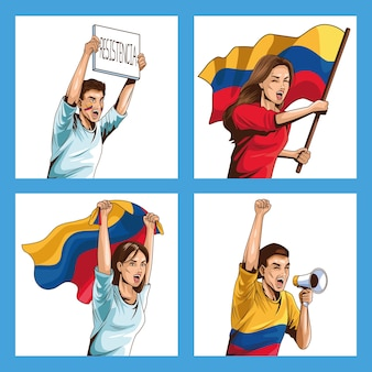 Illustraties met colombiaanse mensen die protesteren