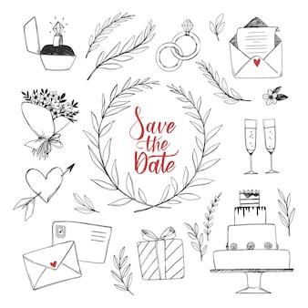 Illustraties met huwelijksdecoraties. schetsen van bloemen, bruidstaart, verlovingsring