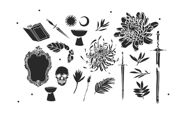 Illustraties mystieke iconen collectie set met logo-elementen, magische heilige boho maan, sterren