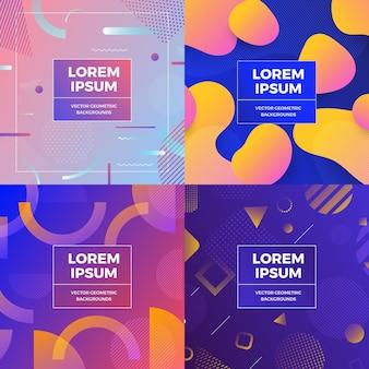 Illustraties ontwerp concept object set memphis stijl covers