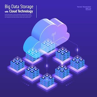 Illustraties ontwerpconcept digitaal netwerk met cloudtechnologie en service-oplossing