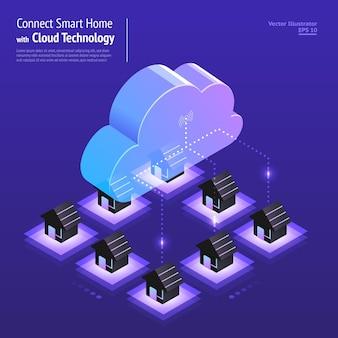 Illustraties ontwerpconcept digitaal netwerk met cloudtechnologie en service smart home-oplossing