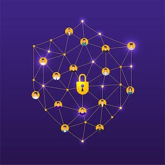 Illustraties ontwerpconcept technologie oplossing cyberbeveiliging en apparaat