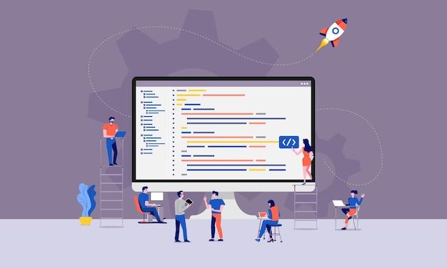 Illustraties ontwerpen ontwikkelaar of programmeur ontwikkelcode en website