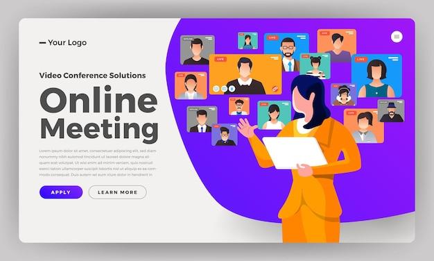 Illustraties plat ontwerp concept videoconferentie. online vergaderwerk vanuit huis. bellen en live video.