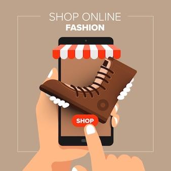 Illustraties plat ontwerpconcept mobiele winkel online winkel. hand houden mobiele verkoop mode winkelen.