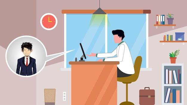 Illustraties plat ontwerpconcept videoconferentie online vergadering werkvorm thuis