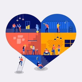 Illustraties plat ontwerpconcept werkruimte bouwen pictogrammen liefde