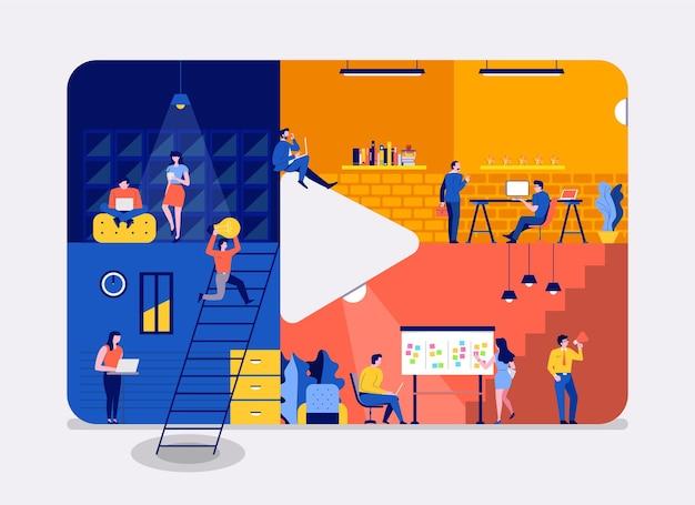 Illustraties plat ontwerpconcept werkruimte gebouw pictogram video-inhoud