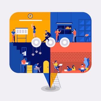 Illustraties plat ontwerpconcept werkruimte gebouw pictogrammen commentaar