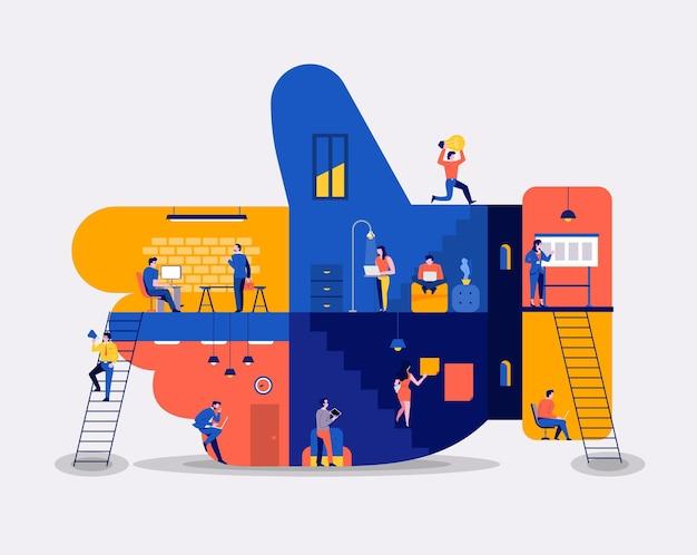 Illustraties plat ontwerpconcept werkruimte gebouw pictogrammen zoals knop