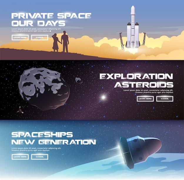 Illustraties rond het thema: astronomie, ruimtevlucht, ruimteverkenning, kolonisatie, ruimtetechnologie. de webbanners. privéruimtes. asteroïden. ruimteschepen van de nieuwe generatie.