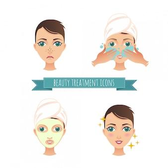 Illustraties schoonheidsbehandeling, gezichtsverzorging, masker