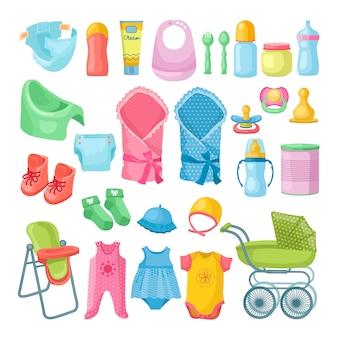 Illustraties set pasgeboren spullen
