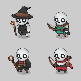Illustraties set van monster bereik skelet