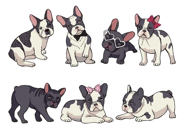 Illustraties set van schattige kleine franse bulldog. grappige foto's van puppy