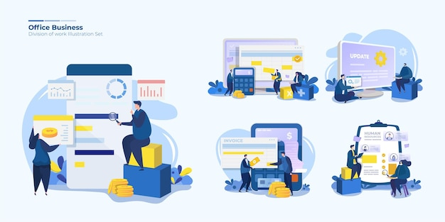 Illustraties set van verdeling van kantoorwerk