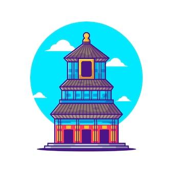 Illustraties van de tempel van de hemel chinees toerisme. wereldtoerismedag, gebouw en oriëntatiepuntpictogramconcept