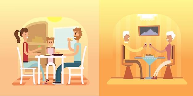 Illustraties van familiediners
