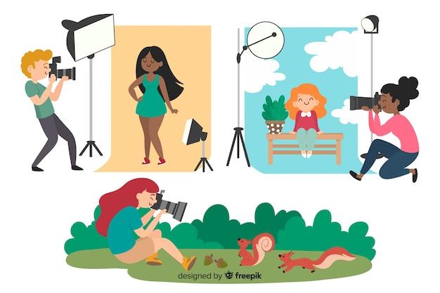 Illustraties van fotografen die hun werk doen