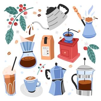 Illustraties van gebruiksvoorwerpen en hulpmiddelen voor het zetten van koffie