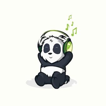 Illustraties van grappige panda's die aan muziek luisteren