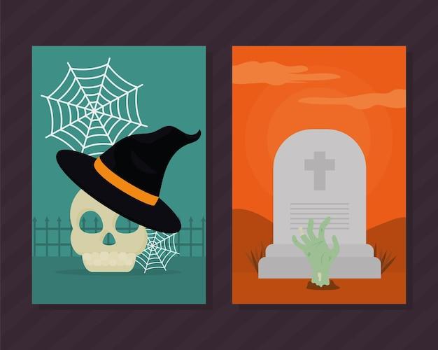 Illustraties van halloween-kaarten
