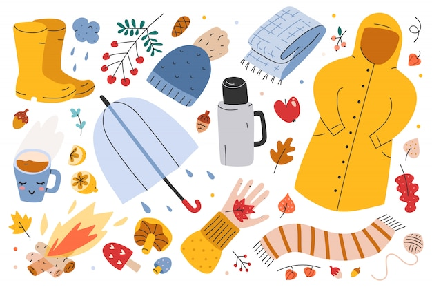 Illustraties van herfst seizoenskleding en accessoires