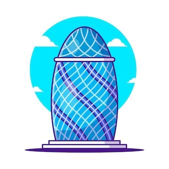 Illustraties van het augurkgebouw. wereldtoerismedag, gebouw en oriëntatiepuntpictogramconcept