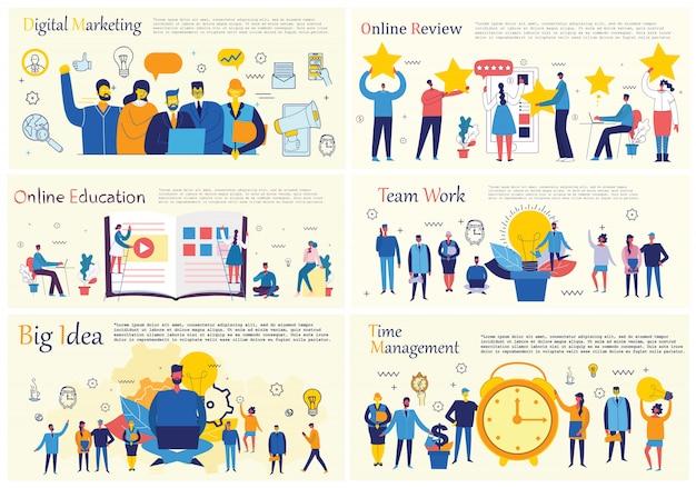 Illustraties van het kantoorconcept mensen uit het bedrijfsleven in de vlakke stijl. e-commerce, tijd- en projectmanagement, opstarten, digitale marketing bedrijfsconcept.