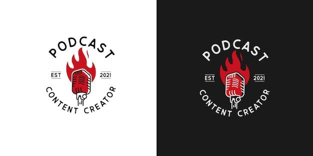 Illustraties van het ontwerpconcept van het podcast-logo