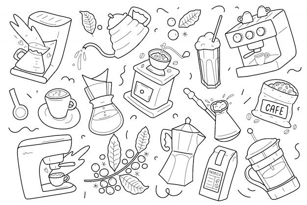 Illustraties van hulpmiddelen en gebruiksvoorwerpen voor het maken van koffie