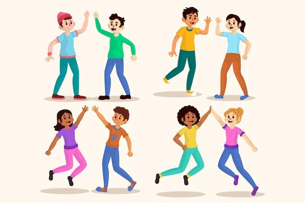 Illustraties van jonge mensen die high five-collectie geven