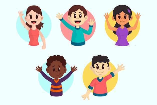Illustraties van jonge mensen zwaaien hand pack