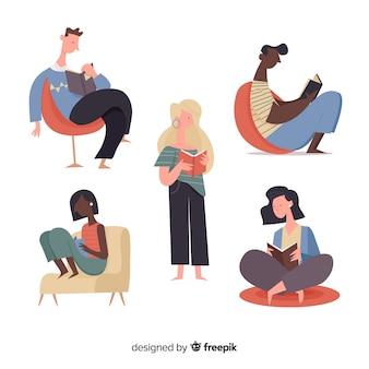 Illustraties van jongeren die de collectie lezen