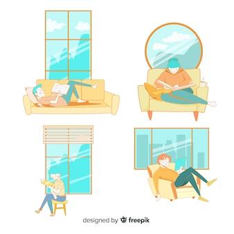 Illustraties van jongeren die pak lezen