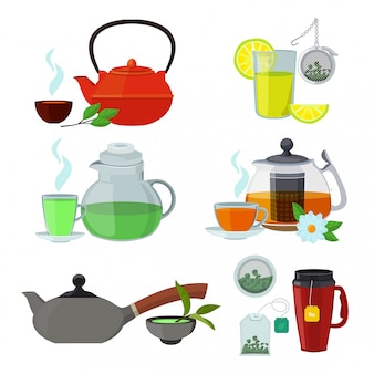 Illustraties van kopjes en ketels voor verschillende soorten thee