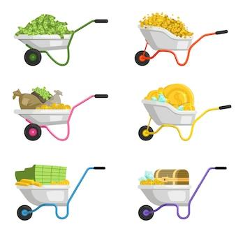 Illustraties van kruiwagen met geld. vector set