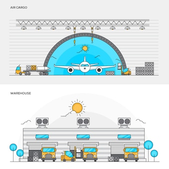 Illustraties van luchtvracht en magazijn