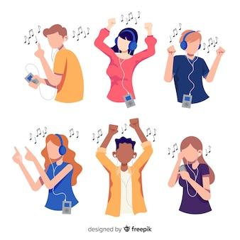 Illustraties van mensen die naar muziek luisteren