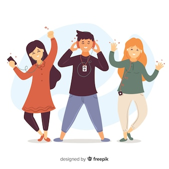 Illustraties van mensen luisteren muziek op oortelefoons