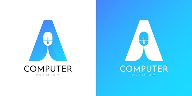Illustraties van muis computer logo ontwerpsjabloon