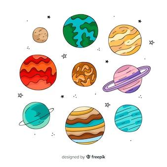 Illustraties van planeten van het zonnestelsel