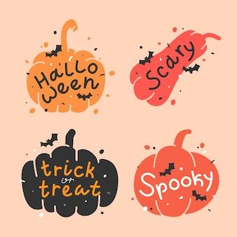 Illustraties van pompoenen met letters voor halloween