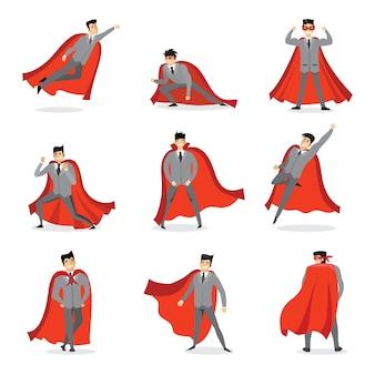 Illustraties van reeks zakenlieden en onderneemsters superhelden met de rode mantel