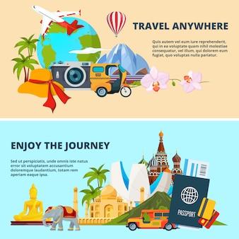 Illustraties van reisthema met beelden van verschillende wereldoriëntatiepunten