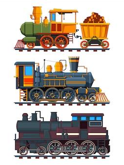 Illustraties van retro treinen met wagens