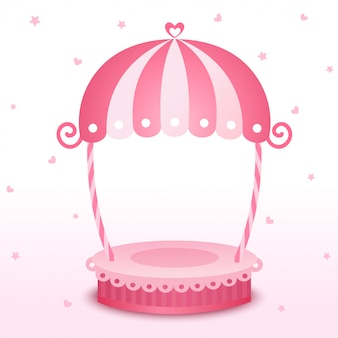 Illustraties van schattige roze staan frame op wit