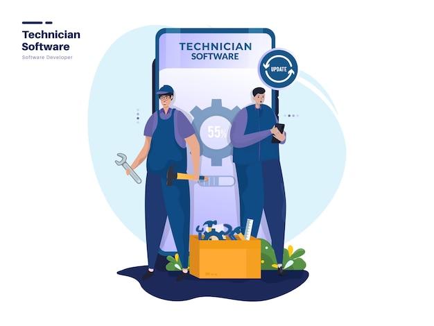 Illustraties van softwareontwikkelaars voor technici