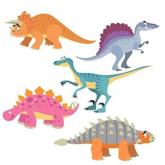 Illustraties van spinosaurus en triceratops